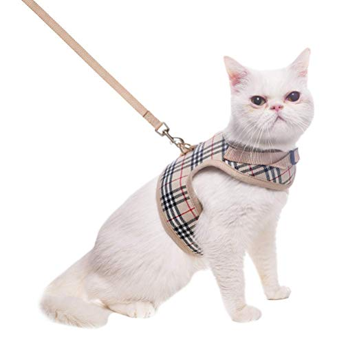 BINGPET Escape Proof Cat Harness with Leash - Adjustable Soft Mesh Vest for Walking