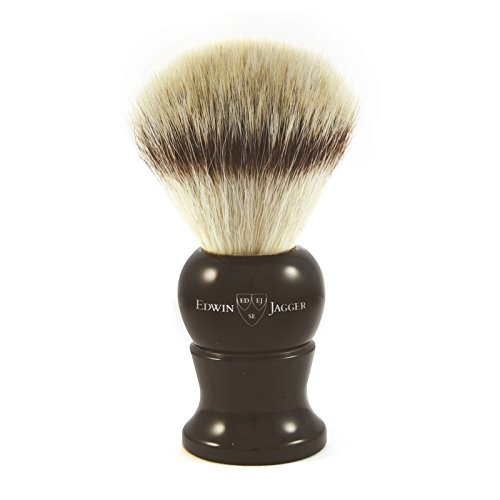 Edwin Jagger Synthetic Silver Tip Shaving Brush with Ebony Handle
