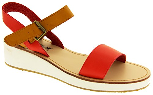 Footwear Studio Betsy Womens Faux Leather Gladiatior Sandals Ladies Wedge Sandal SZ 3 4 5 6 7 8 Red and Brown MsaPkqrB