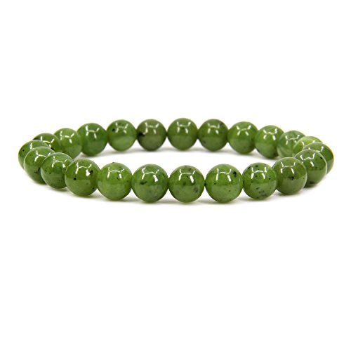 Natural A Grade Canadian Nephrite Jade 8mm Round Beads Stretch Bracelet 7
