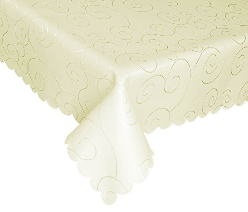 EcoSol Designs Microfiber Damask Tablecloth, Wrinkle-Free & Stain Resistant (60x84, Ivory) Swirls