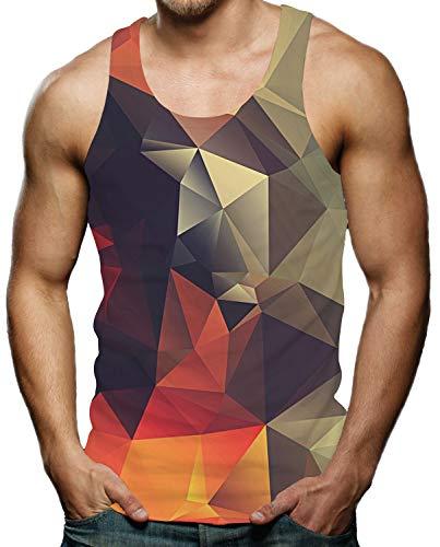 Mens 3D Printed Design Tank Top Funny Sleeveless Shirt Geometric Diamond Graphic Tees XL (Best Tank Top Designs)