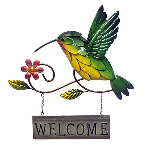 """- Hummingbird Welcome Sign - 3D Metal Wall Decor - Hand-Painted - 10 ½ """" x 11 ½ """"-Modern Home Decoration - Indoor or Outdoor Use – Wall Art Hanging in Traditional Colors"""