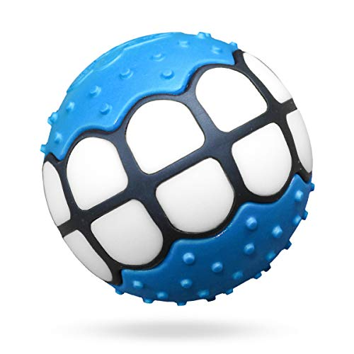 (Dawg Grillz Dog Balls Toys Squeaky Fetch - Rubber Funny Ball Gifts for Large Medium Dogs (Blue White))