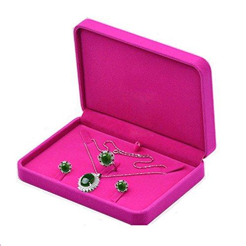 TIKIYOGI Wedding Jewelry Sets Velvet Box Necklace Earring Ring Display Case Storage Holder (Rose Red) by TIKIYOGI