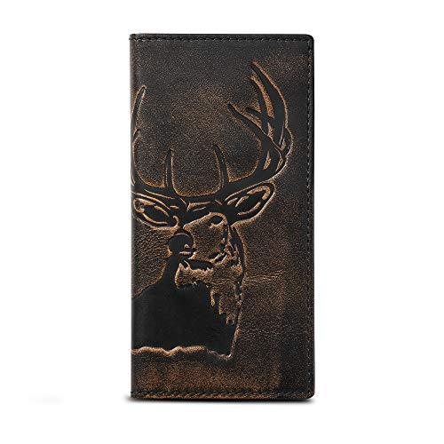 HOJ Co. DEER Long Bifold Wallet-Full Grain Leather With Hand Burnished Finish-Mens TALL Wallet-Deer Hunter Gift-Rodeo Wallet (Men Wallets Hunting)