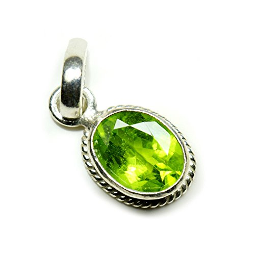 Jewelryonclick Peridot Simple Pendant Charm 4 Carat Natural Oval Gemstone 92.5 Sterling - Peridot Sterling Charm Silver