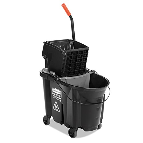 Rubbermaid Commercial WaveBrake Mopping System Bucket and Side-Press Wringer Combo, 35-quart, Black (1863896)