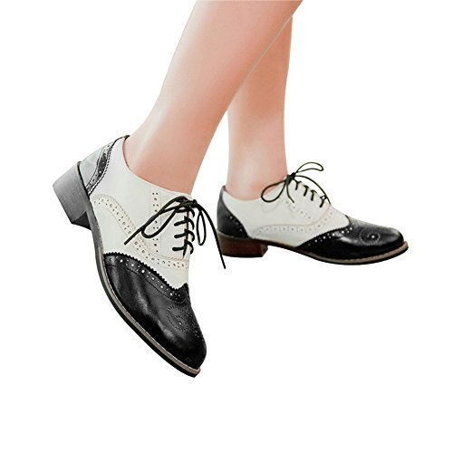 Shoes Wingtip Brogues Lace Womens Black Oxfords Oxford Flat up Oxfords Brown Perforated Cicime WxPnaRwBw