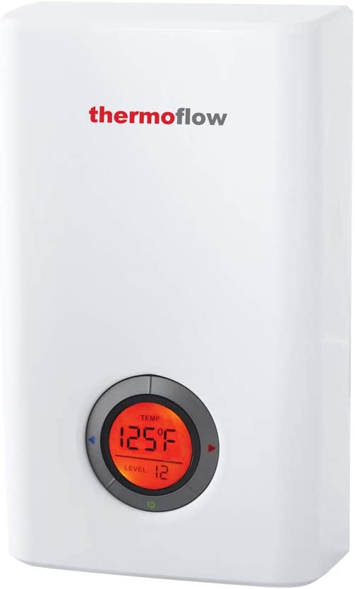 Thermoflow Electric Tankless Water Heater, Instant Hot Water Heater with Self-Modulating Temperature Technology, 12kW at 240 Volts