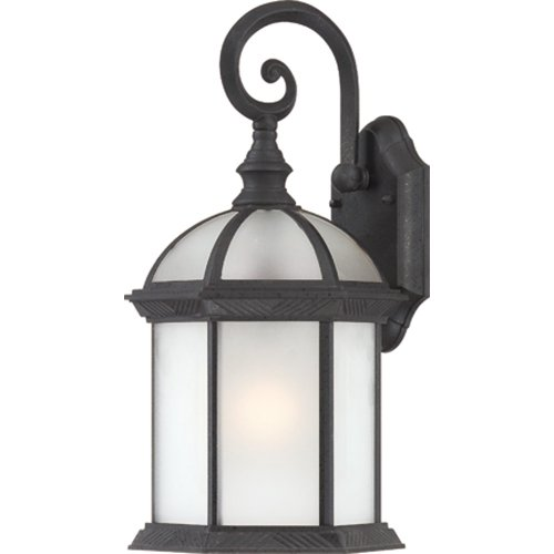 (Nuvo Lighting 60/4989 Boxwood Energy Saving One Light Large Wall Lantern/Arm Down Bulb Included Frosted Glass Textured Black Outdoor Fixture)