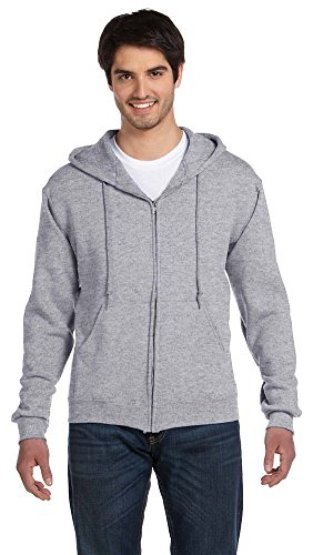 - Fruit of the Loom 12 oz. Supercotton 70/30 Full-Zip Hood, XL, ATHLETIC HEATHER