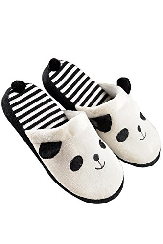 1 Pair of Women Men Couples Lovers Warm Cartoon Animal Panda Pattern Winter Indoor Bedroom Home Slippers Shoes 38-39 Size White White Eqifh
