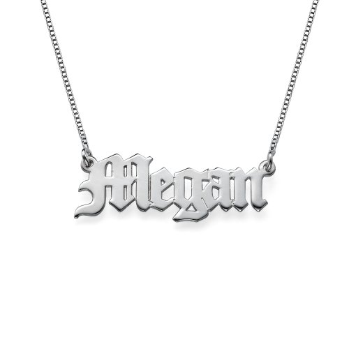 Personalized Old English Font Name Necklace -Custom Jewelry Sterling Silver Pendant