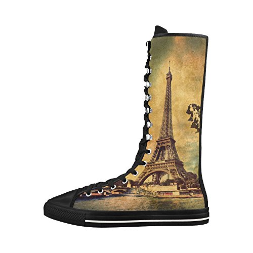 D-Story Eiffel Tower1 Lace Up Tall Punk Dancing Canvas Long Boots Sneakers Shoes For Women