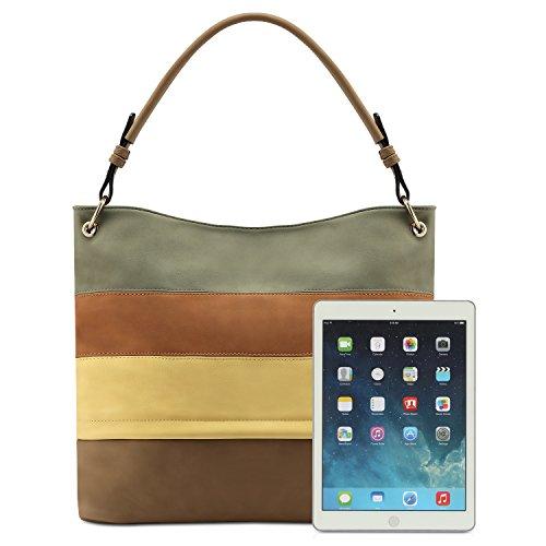 Bag Color Stripped Plambag Leather 2 Faux Shoulder Multi Color Tote Handbag Hobo zzvBn