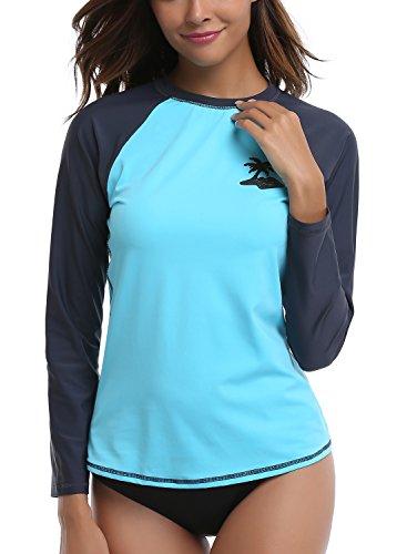4336884b4d81a Taylover Womens Long Sleeve Rash Guard Swim Shirt UV Rash Guard Tops  Swimwear