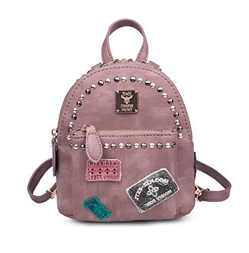 Diario Escolares Personalizadas Fashion Casual Para Pequeña Tipo Mochilas Impermeable Salvaje Mujeres Backpack Viajes Remaches Bolsas Rosa Xiuy YOw7xO