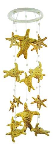 Clay Motif - Clay Motif Coastal Sea Turtles and Starfish 19 Inch Wind Chimes Garden Decor
