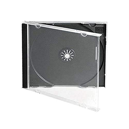 Maxtek 10.4 mm Standard Single Clear CD Jewel Case with Assembled Black Tray, 25 Pack - Clear Tray Case Jewel