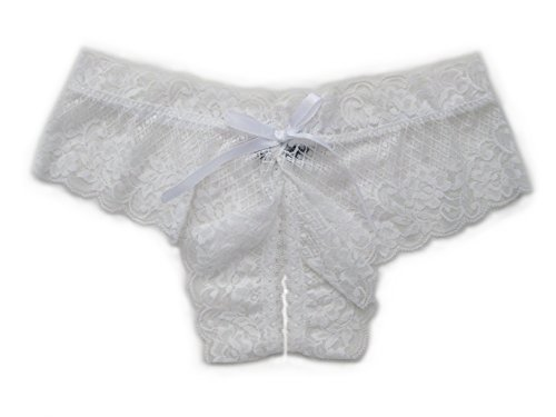 Trixx Intimates Women's Open Crotch Boyshorts Panty Thong White X-Large