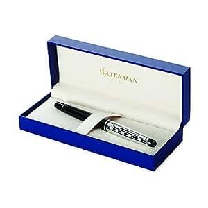 Waterman Expert - Pluma estilográfica en caja de regalo (capuchón tallado acabado en paladio), acabado lacado, color negro
