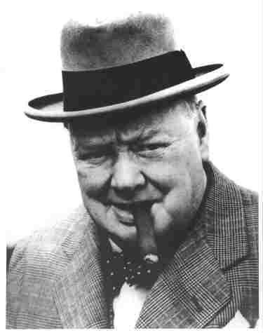 Photo Winston Churchill Smoking a Cigar