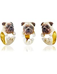 Pug Ring Dog Wrap Ring Animal Jewelry Dog Jewelry dog lover ring Adjustable Ring Handmade Gift idea