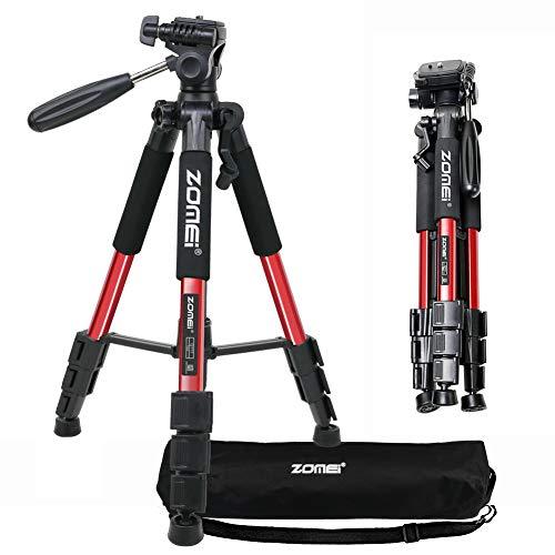 ZOMEI Q111 Treppiede da Viaggio con Piedini allungabili per Fotocamera Digitale 139,7 cm con Testa cilindrica con Testa a Sfera e treppiede (Rosso)