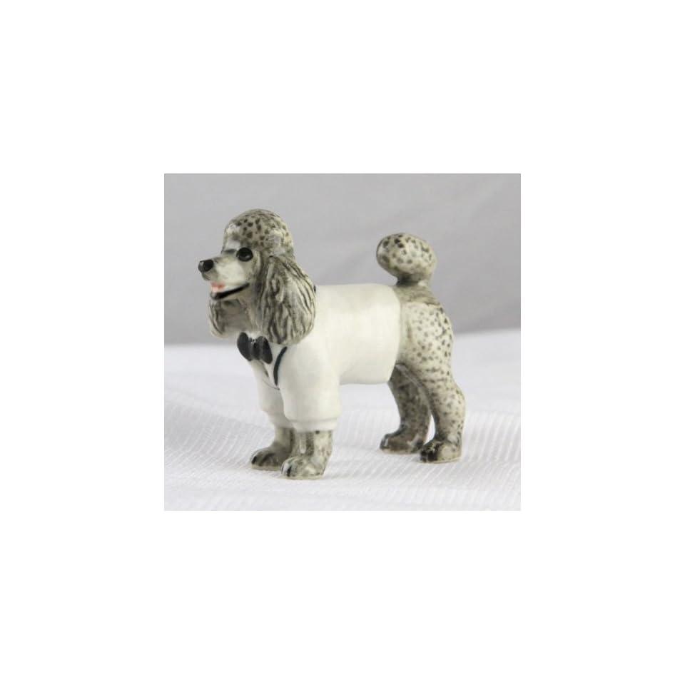 POODLE Gray n White Tux Stands SUPER MINIATURE Figurine Porcelain KLIMA L898F