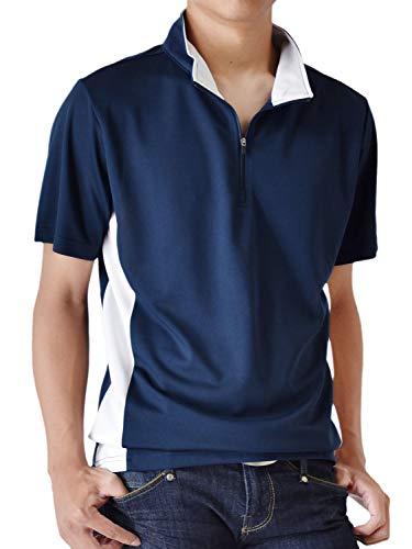 人質我慢するパスポート(アローナ) ARONA ポロシャツ メンズ 無地 速乾 ハーフジップカットソー 半袖 ゴルフウェア/M1.5/