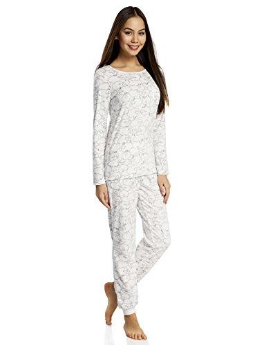 "oodji Ultra Mujer Pantalones con Estampado ""Ovejitas"" Blanco (1225G)"