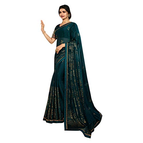 Georgette Zari Shimmer Saree Blouse Light Sari Indian Fashion Women Party Formal 8111 (Unstitched Blouse pc, Green 1)