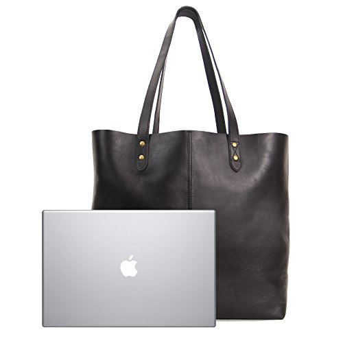 Review Genuine Leather Tote Bag, Large Everyday Shoulder Bag for Work, Shopping, Gym or Travel (Black)