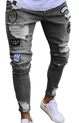 Pantalon Jeans Motard Hiver Slim Hommes Destroy Gris Troué Streetwear Casual Fit Stretch Automne Denim Pantalons Printemps Skinny Biker Homme rwrA6Yq