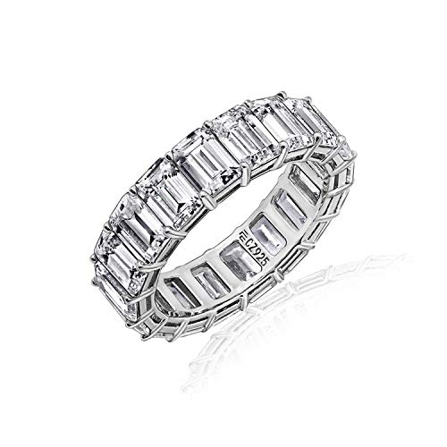 Diamonbliss Sterling or 14K Gold Clad Cubic Zicornia Emerald Cut Band Ring -Rhodium, Size - Rhodium Wide Band Ring
