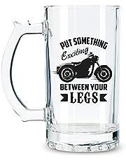 Motorcycle Funny Beer Glasses with Handle for Motorbike Lover Bike Men, Women, Beer Lovers - 17 oz Heavy Traditional Beer Stein Mug with Bottle Opener