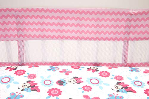 - Disney Minnie Mouse Happy Day Secure-Me Crib Liner, Pink/Rose/White