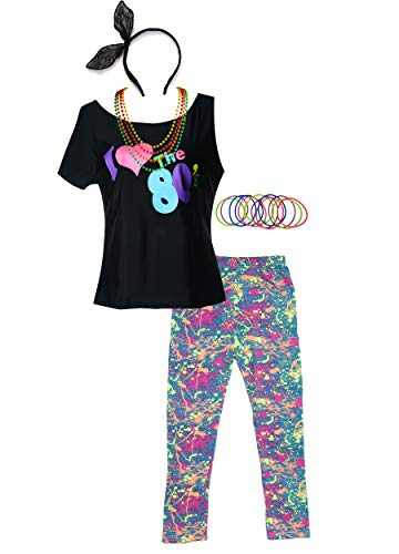 POKERGODZ 80s Girl Child T-Shirt and Leggings Complete 1980s Party Costume Accessories (7-8, Black) ()