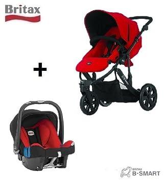 Britax B-Smart - Carrito de 3 ruedas (incluye silla de coche Baby Safe SHR II), color rojo: Amazon.es: Bebé