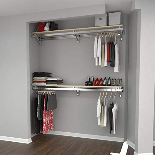 "Arrange A Space RCMBX Premium 32"" Top and Bottom Shelf/Hang Rod Kits Maple Closet System,"