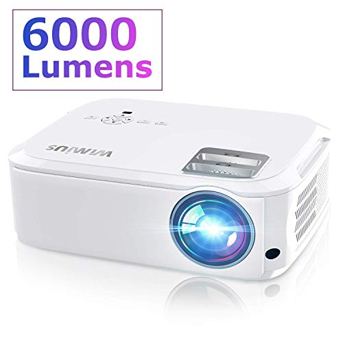 Projector, WiMiUS P21 6000 Lumens Video Projector Native 1920×1080 LED Projector Support 4K Zoom 300