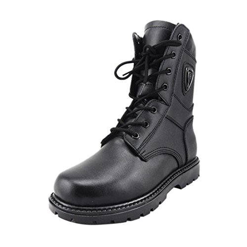 Herren Schwarz Leder Wolle warme Stiefel Military Forces Tactical Armee Kampf Schuhe Schwarz