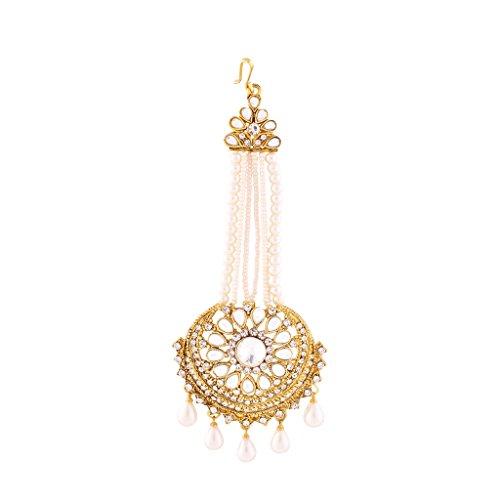 I Jewels Traditional Gold Plated Kundan & Pearl Passa Tikka for Women T1069W (White) by I Jewels