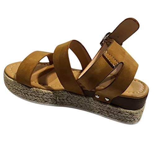 - Pongfunsy Women Sandals Summer Fashion Thick Bottom Straps Espadrilles Open Toe Ankle Buckle Roman Flat Sandal Shoes Brown