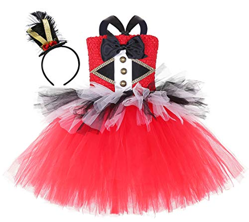 AQTOPS Circus Ringmaster Costumes for Little Girls Lion Tamer Dress Costume Plus Size Red]()