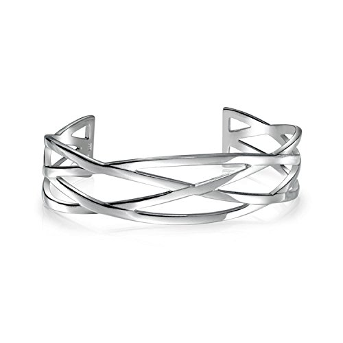 Open Criss Cross Cuff Bangle Bracelet For Women Shinny High Polished Silver Tone Stainless Steel