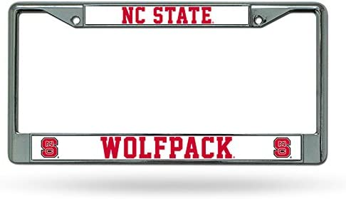 Rico Industries NCAA North Carolina State Wolfpack Standard Chrome License Plate Frame