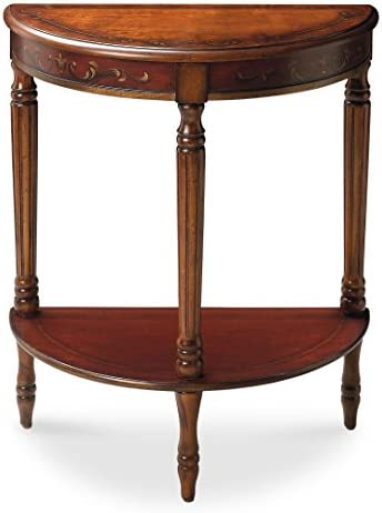 Butler Specialty Company Bellini Hand Painted Demilune Console Table, Cherry and Red