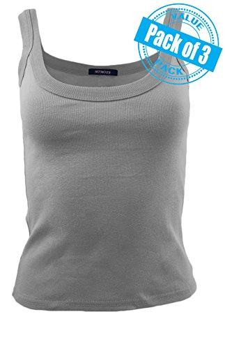 Sexy Basics Womens Juniors 3 Pack Cotton Cami Rib Tank Top (M (Rib Cami)